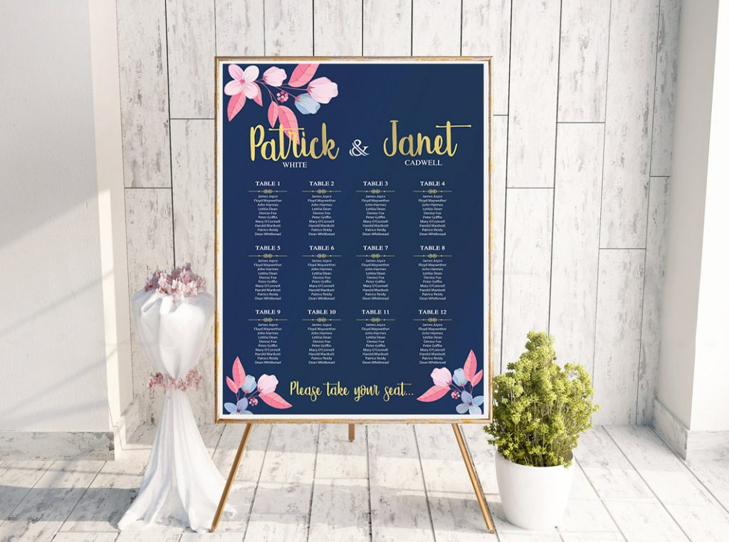 Louisiana Navy Pink Table Plan