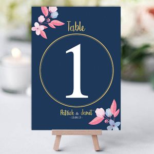 Louisiana Navy Pink Wedding Table Name Card