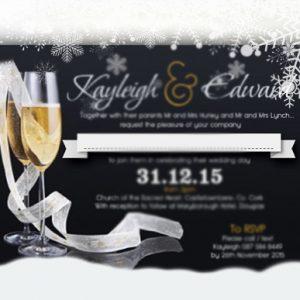 Winter Champagne Wedding Flat Invite