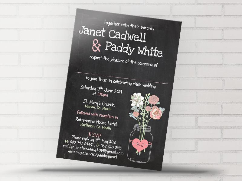 Boho Blackboard Wedding Invitation