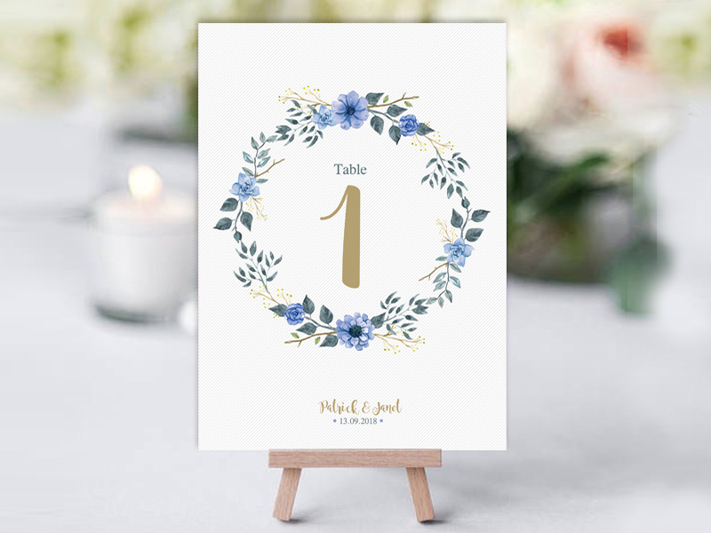 Bohemian Table Name Card Blue & Gold