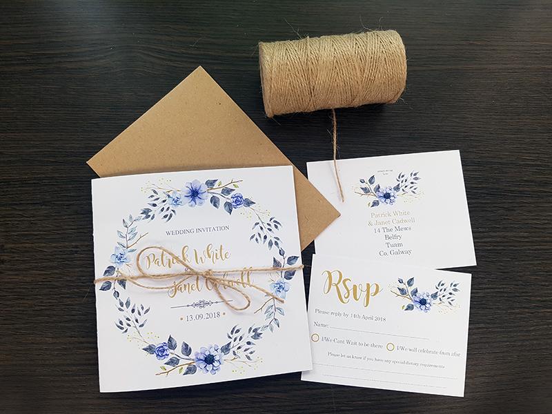 Boho Invitations – Blue & Gold