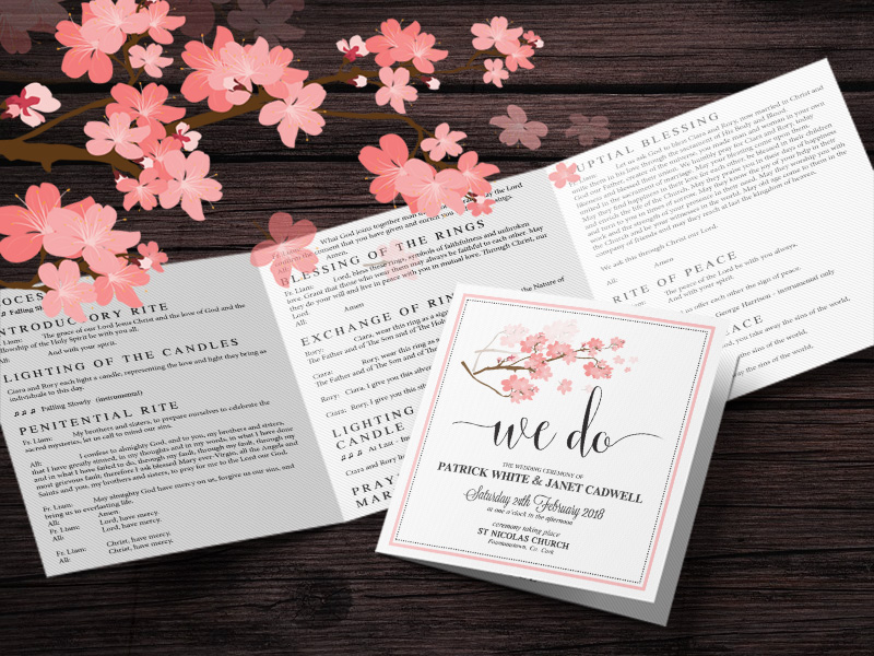 Square Tri Fold Wedding Mass Booklet